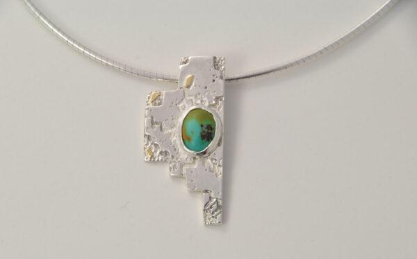 Silver-turquoise-gold-baouri-pendant