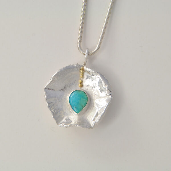 Two-sided pendant-silver-18ct-turquoise-citrine